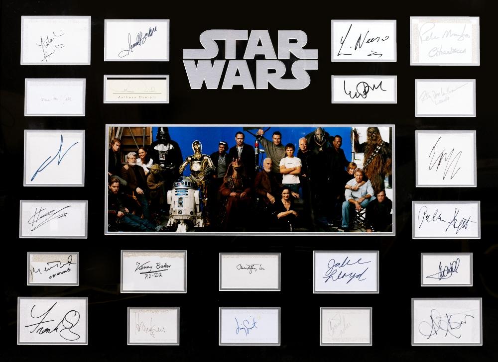 Lot 22 - STAR WARS CAST TWENTY TWO INDIVIDUALLY SIGNED CARDS including George Lucas, Ewan McGregor, Carrie