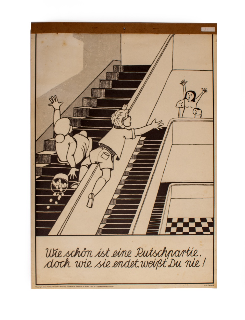 Lot 45 - A GERMAN EDUCATIONAL POSTER depicting the dangers of sliding down the banister to one side and
