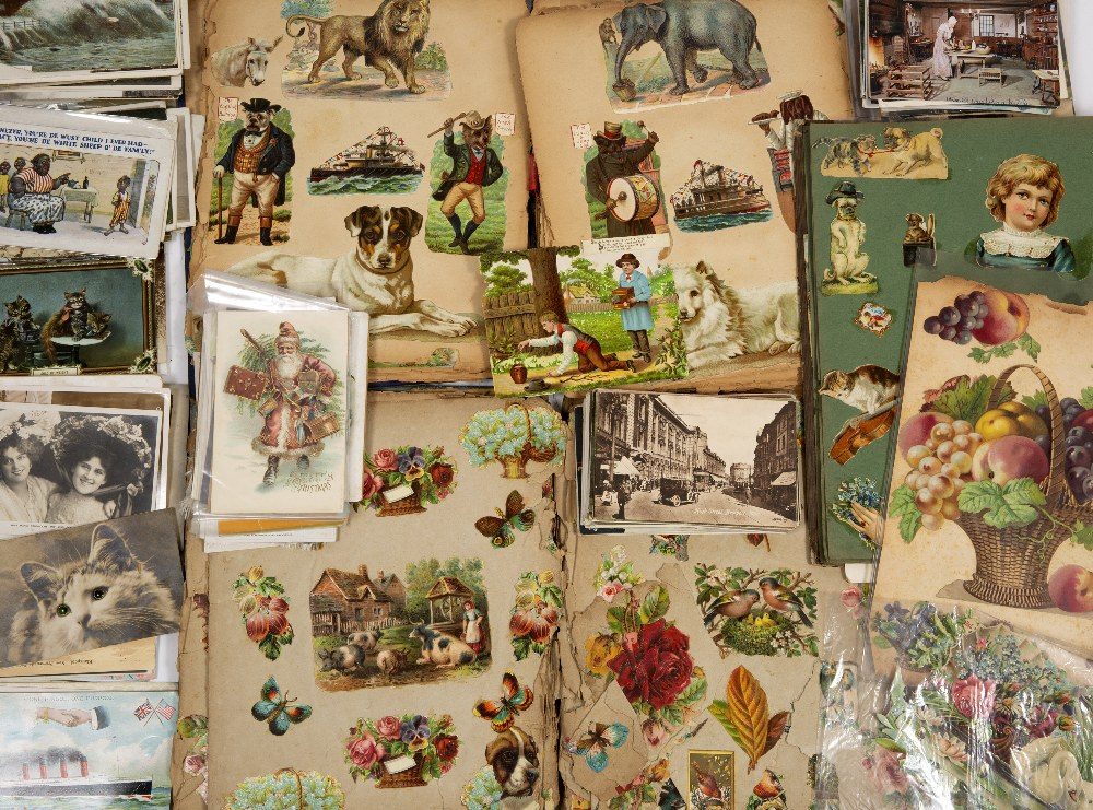 Lot 37 - THREE SCRAP BOOK ALBUMS together with a collection of postcards, topographical, people, animals