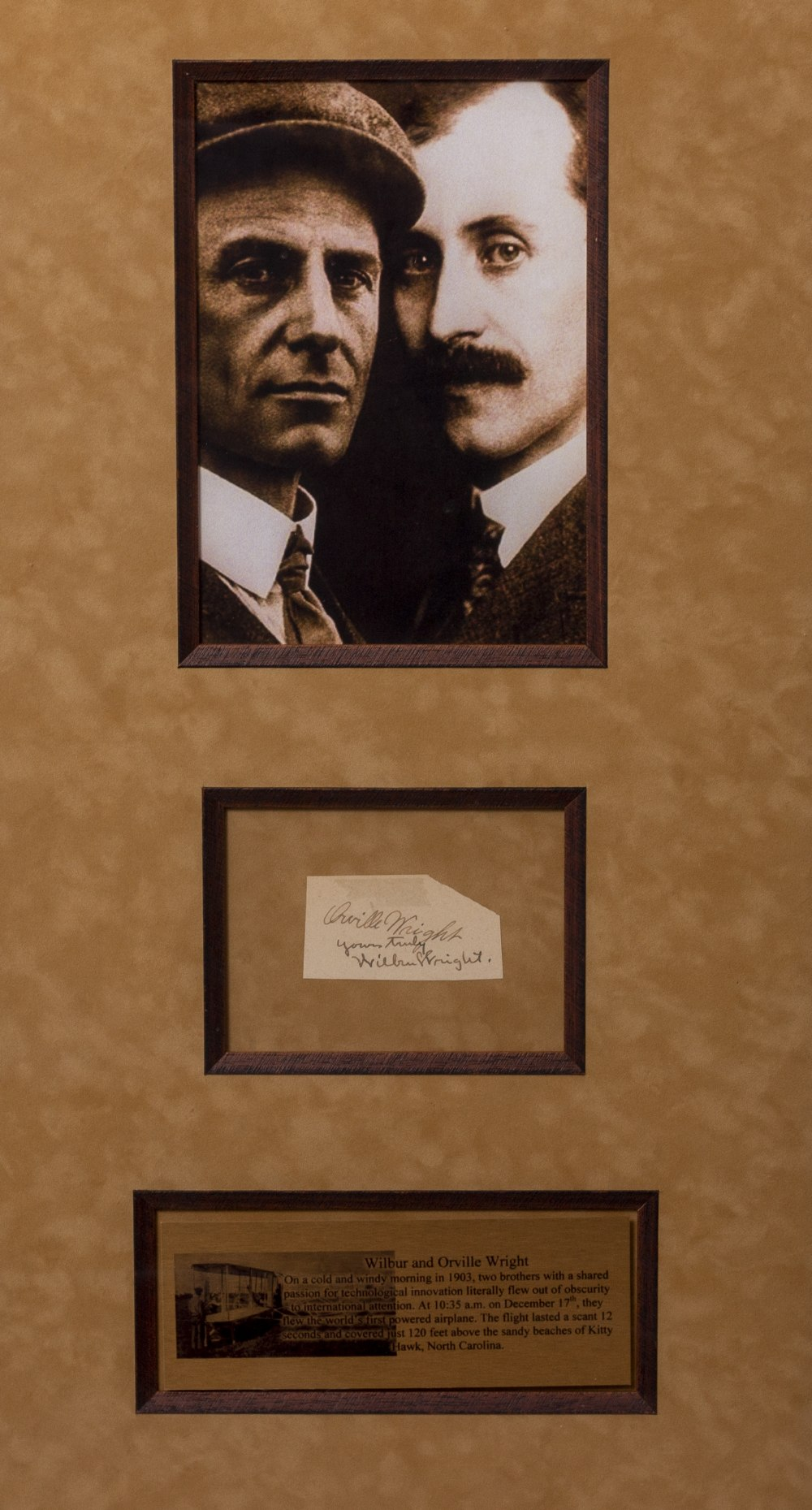 Lot 16 - SIGNATURES OF ORVILLE AND WILBUR WRIGHT mounted with photographs in a display measuring 43cm x 68cm