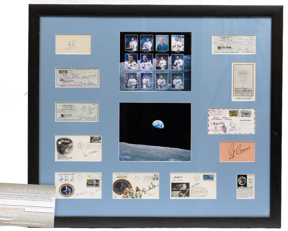 Lot 33 - TWELVE SIGNATURES OF MEN WHO WALKED ON THE MOON to include Buzz Aldrin, Neil Armstrong, Alan