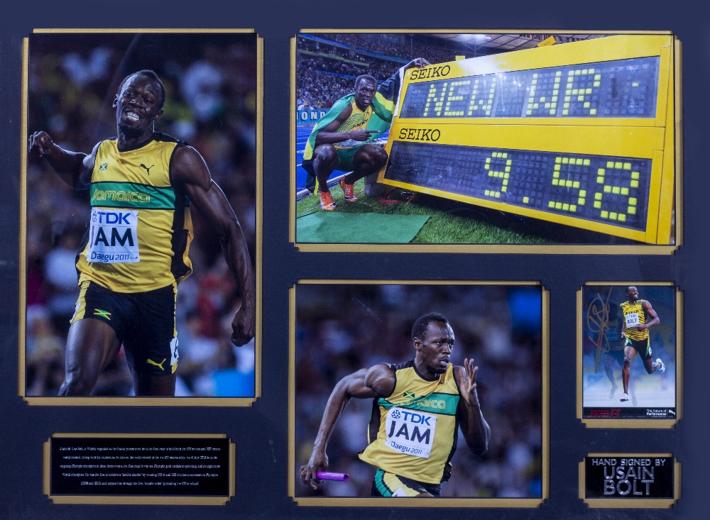 Lot 5 - USAIN BOLT SIGNED PHOTOGRAPH mounted in a display with further photographs, framed 68cm x 85cm