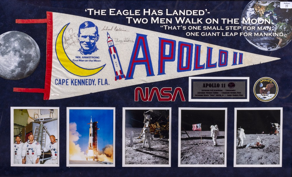 """Lot 32 - BUZZ ALDRIN, NEIL ARMSTRONG, MICHAEL COLLINS SIGNED PENNANT from Apollo 11 mission, with caption """""""