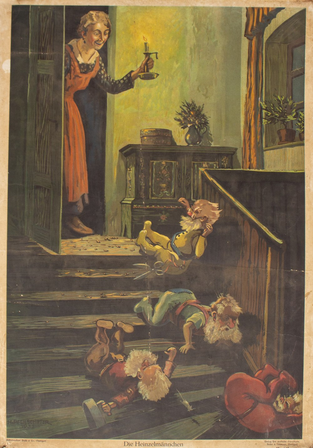 Lot 55 - AN EARLY 20TH CENTURY CONTINENTAL EDUCATIONAL STORY POSTER after an original picture by H