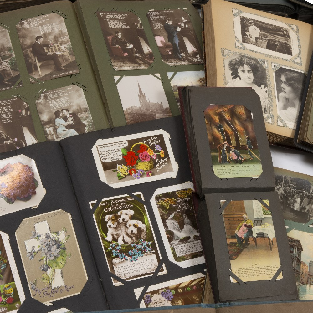 Lot 36 - A LARGE COLLECTION OF VICTORIAN AND LATER POSTCARDS in albums to include topographical of Britain