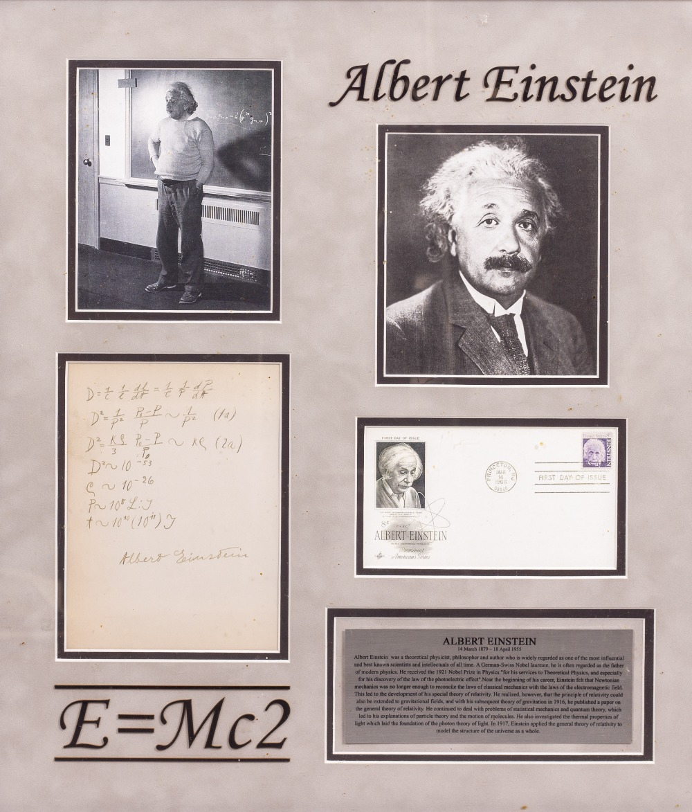 Lot 10 - ALBERT EINSTEIN SIGNED SET OF MATHEMATICAL CALCULATIONS above the formula 'E=MC2', mounted in a