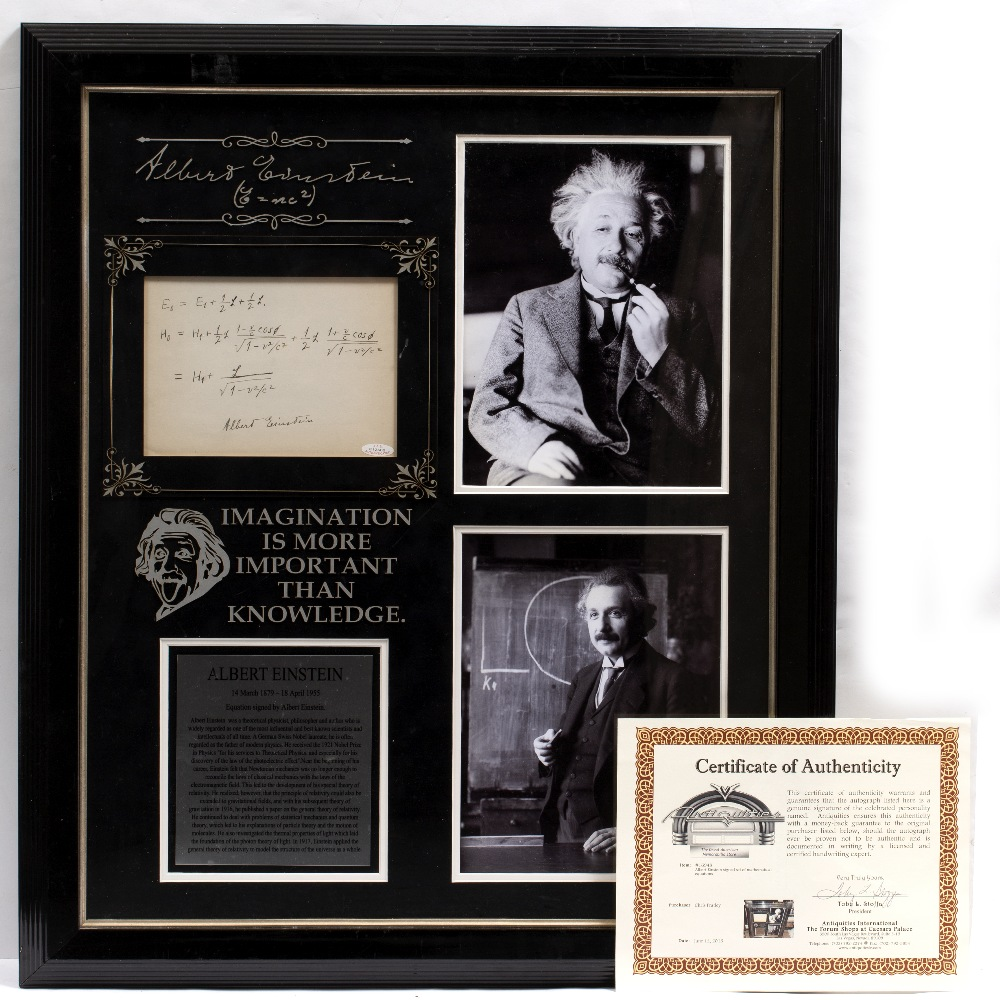 Lot 11 - ALBERT EINSTEIN SIGNED SET OF MATHEMATICAL CALCULATIONS with the motto 'Imagination is more