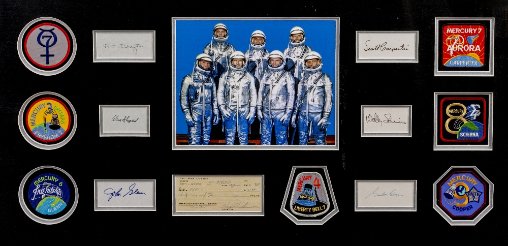 Lot 34 - VIRGIL 'GUS' GRISSOM SIGNED CHEQUE with the signatures of the Mercury Space Crew, 51cm x 95cm