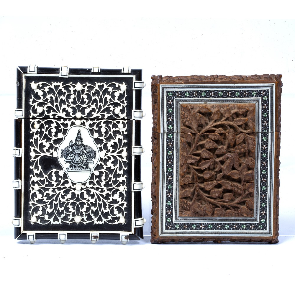 Lot 29 - Two card cases India the first mounted in tortoiseshell with ivory applied to the outside, the