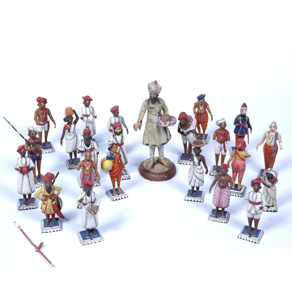 Lot 50 - Company school figures Indian, 20th Century depicting a variety of painted wooden figures in