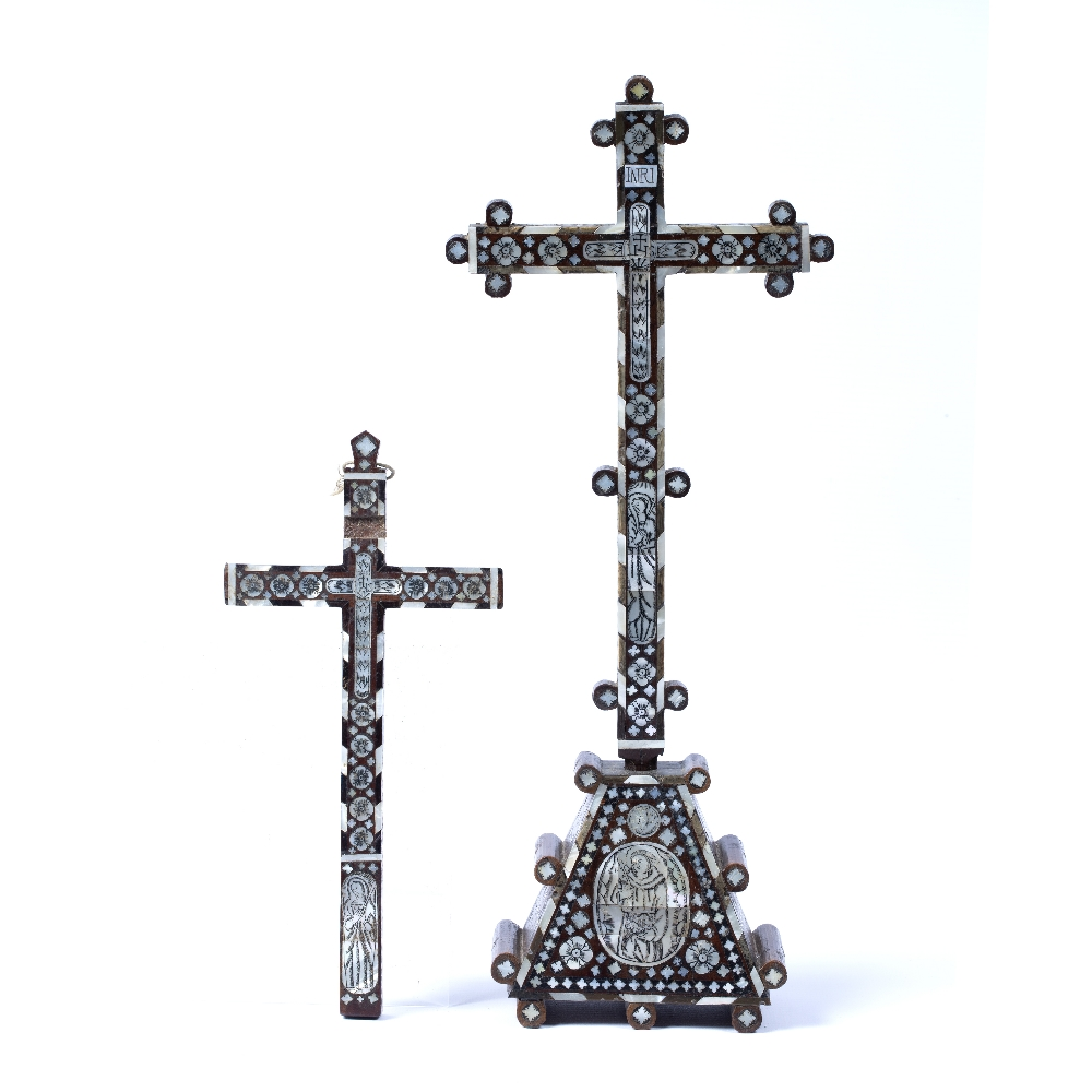 Lot 39 - Two Jerusalem crosses 18th Century engraved with mother-of-pearl depicting Christ and the Virgin