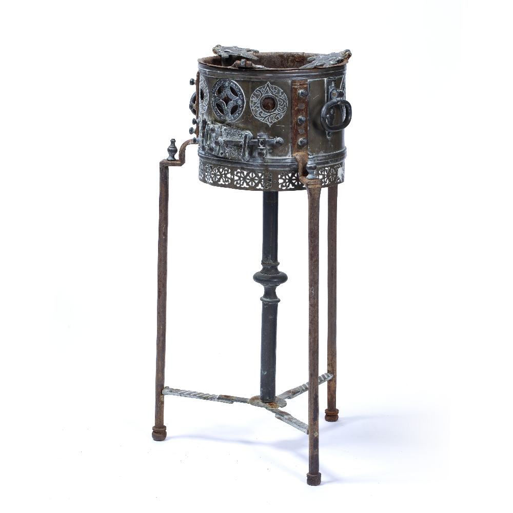 Lot 59 - Ottoman Mangal Turkey, 19th Century charcoal burner on stand, with engraved decoration on an iron