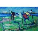 Lot 363 - ALAN R ANDERSON (20TH CENTURY) 'The Washing Line, North End, Iona', signed, oil on board, 27 x