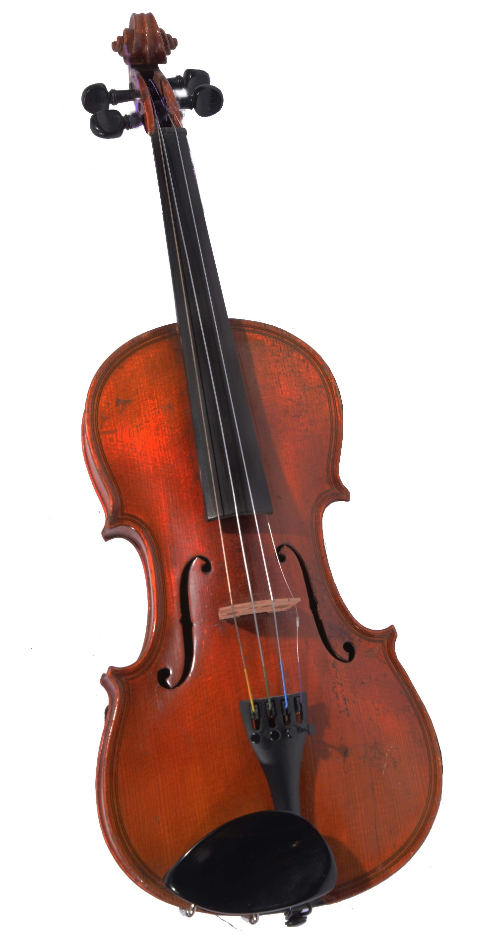 Lot 151 - A GERMAN COPY OF A MAGGINI VIOLIN by E.R. Schmidt with two piece back, stamped 'Maggini' and of