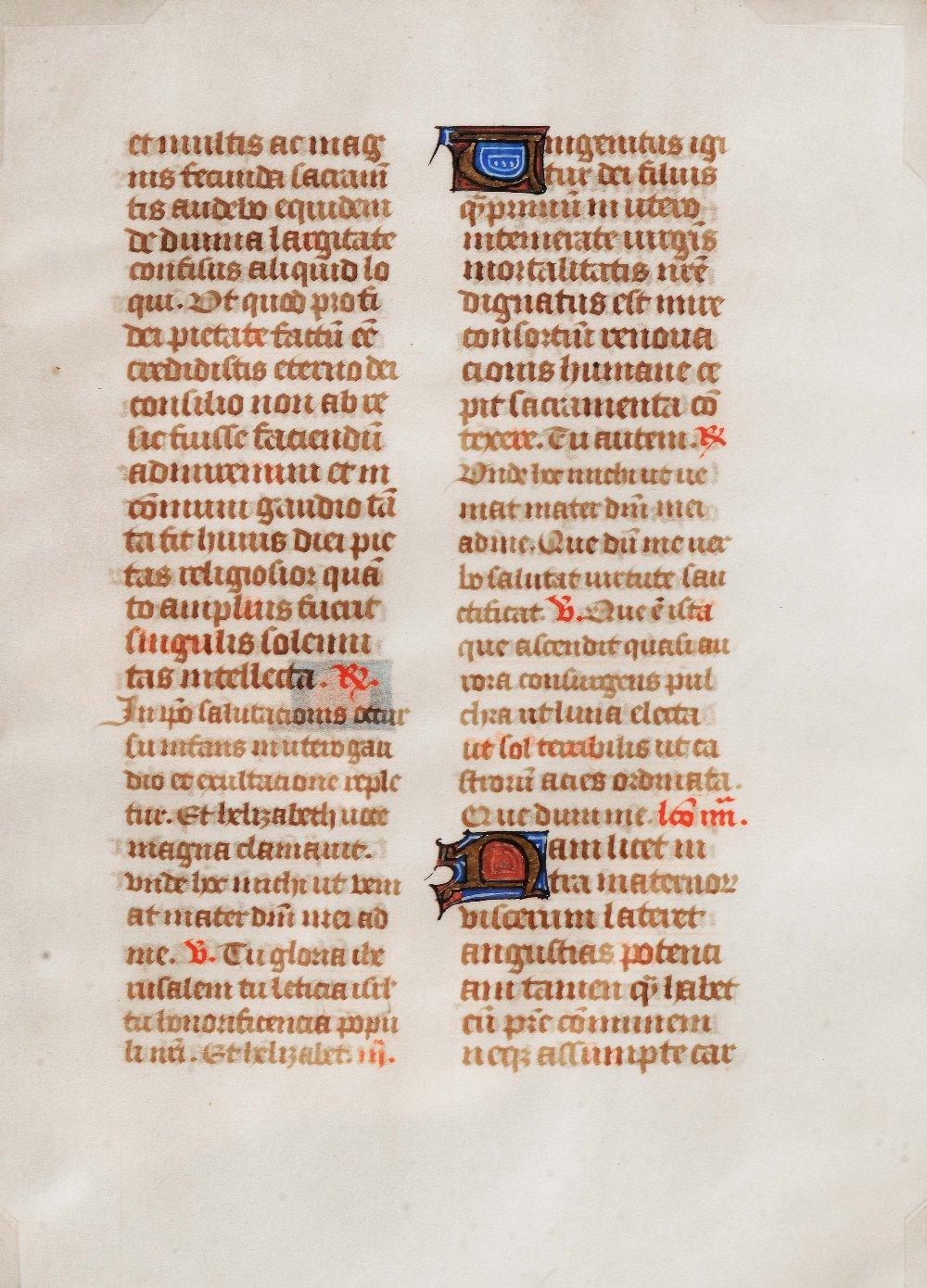 Lot 328 - AN OLD ILLUMINATED MANUSCRIPT LEAF decorated with Latin text in gilt and colours, double-sided, 18 x
