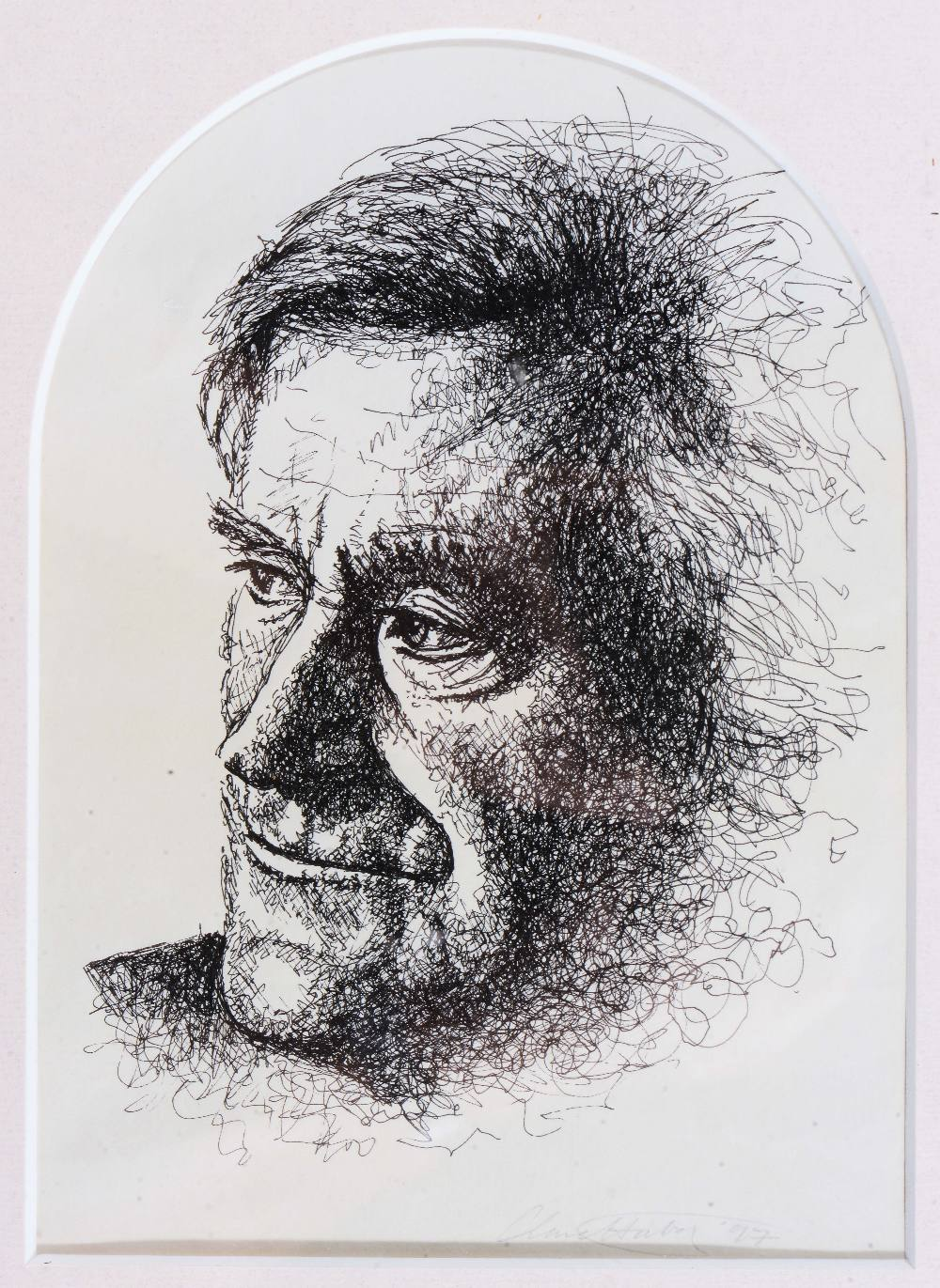 Lot 354 - CLARE HUBER Head and shoulder portrait of the poet laureate Ted Hughes, signed and dated '97, pen