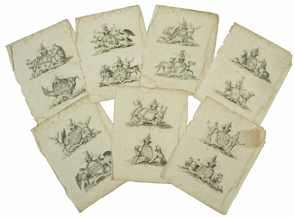 Lot 8 - F CHESHAM AFTER C CALTON A loosely bound book of 116 heraldic crest engravings, 23 x 19cm (pl), 29 x