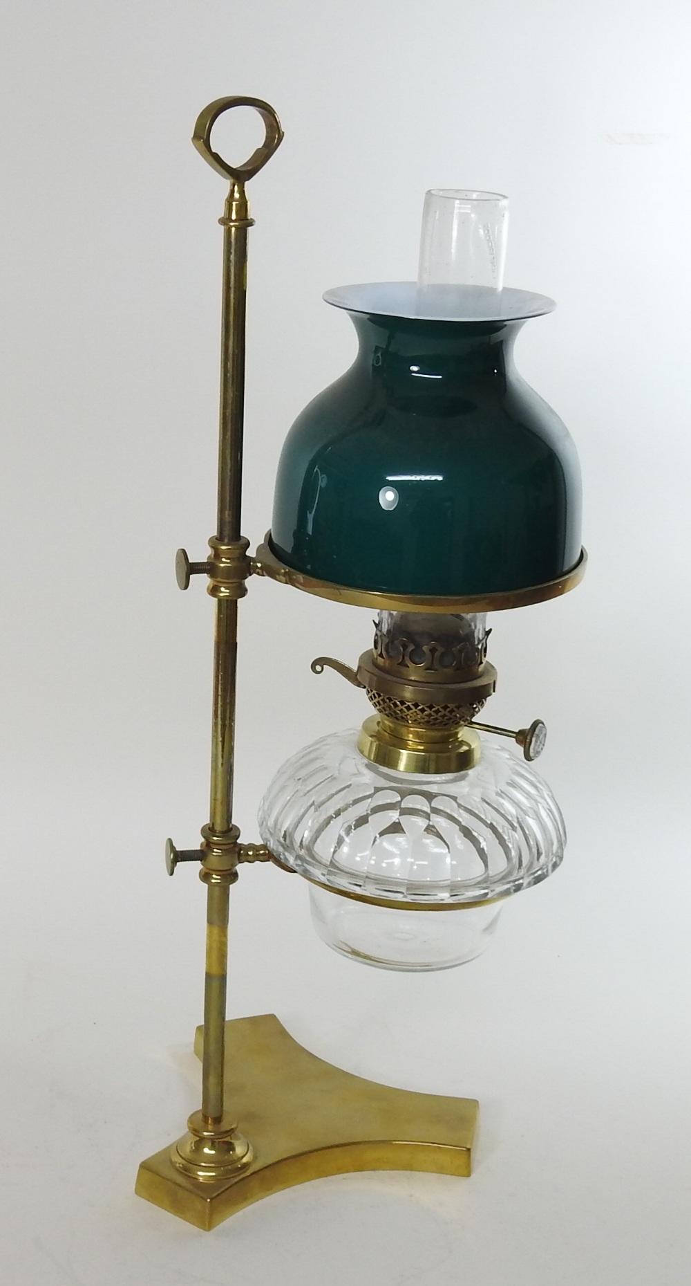 Lot 35 - A Victorian Hinks & Son Ltd patent brass student's lamp,