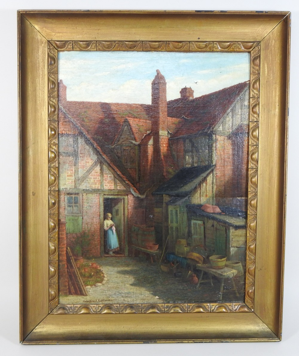 Lot 53 - Valentine Thomas Garland (1868-1914), courtyard with a young lady at the door, signed, oil on panel,