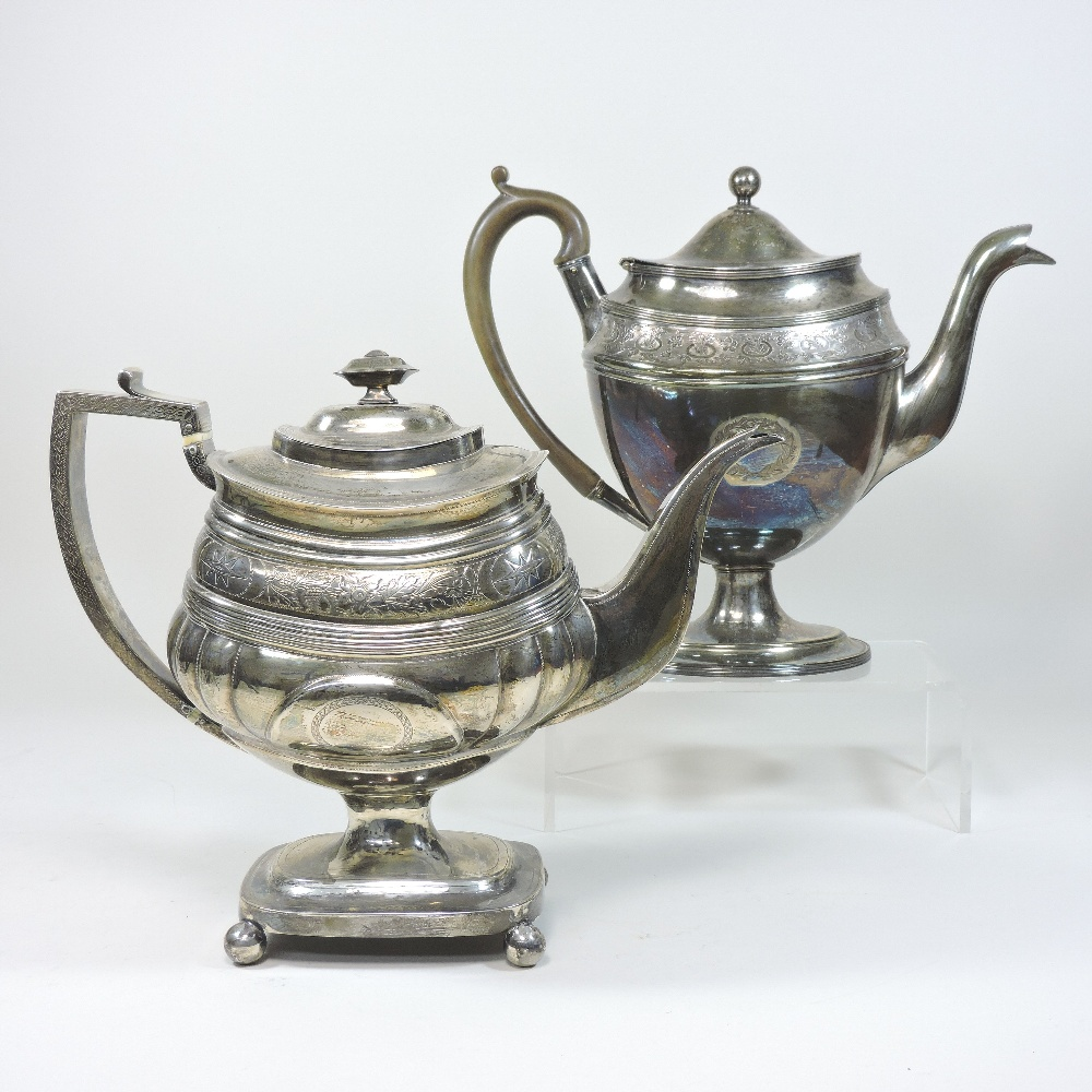 Lot 5 - A George III silver pedestal teapot, of oval half gadrooned shape,