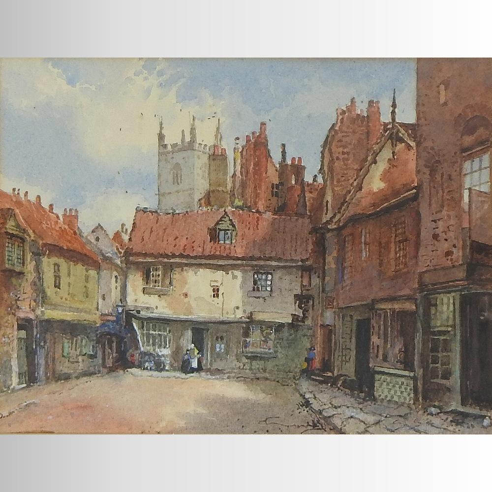 Lot 43 - English School, (19th century), a townscape, watercolour,