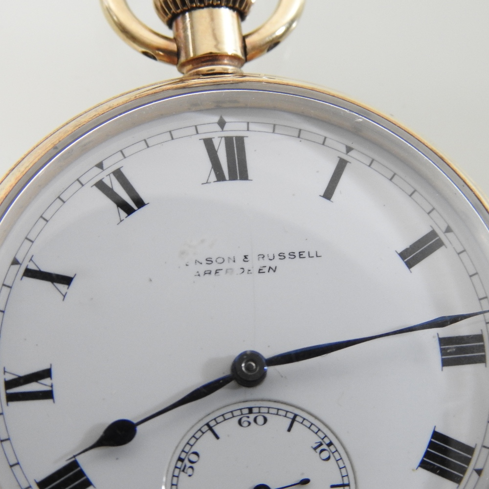 Lot 48 - An early 20th century 9 carat gold open faced pocket watch, with a white enamel dial,