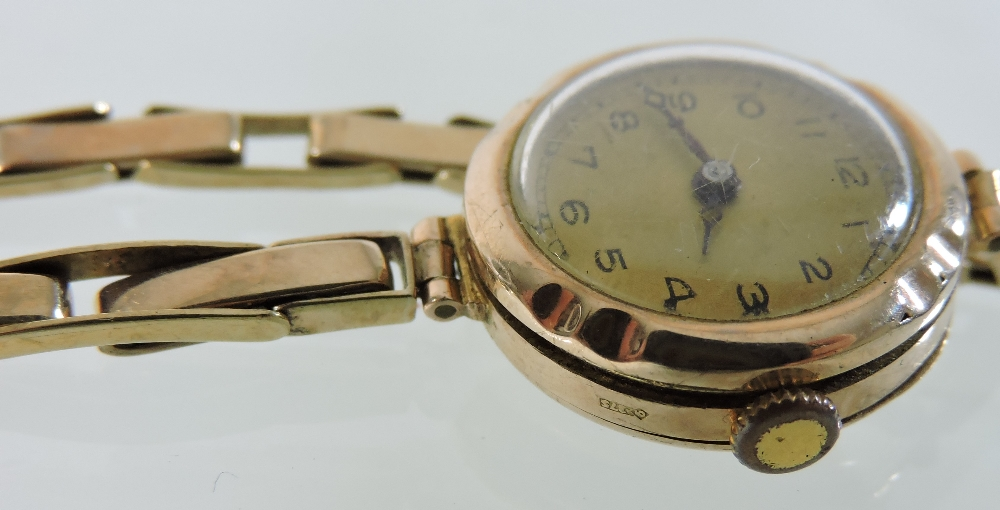 Lot 55 - An early 20th century 9 carat gold cased ladies wristwatch,