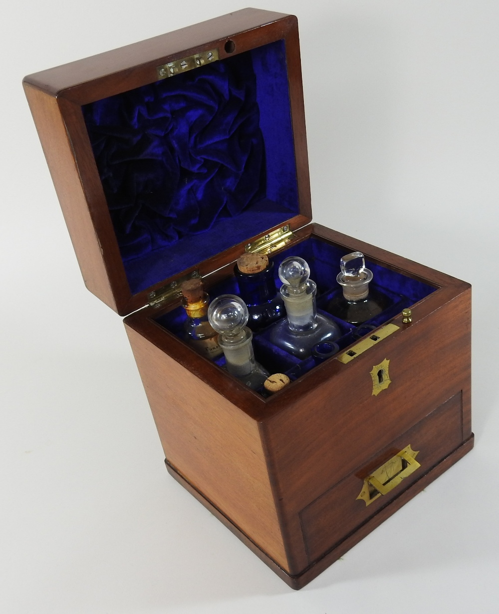 Lot 50 - A 19th century mahogany and brass mounted portable apothecary cabinet, of plain square shape,