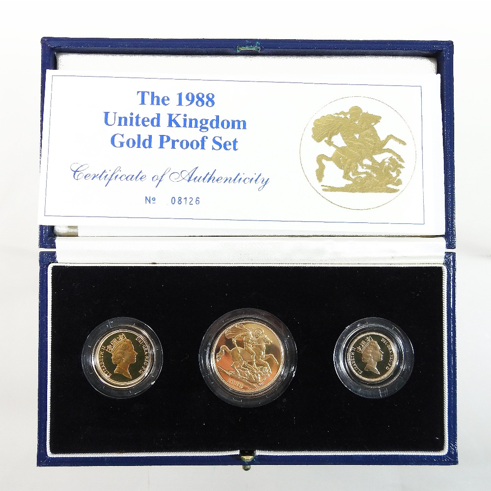Lot 44 - An Elizabeth II United Kingdom gold proof three coin set, dated 1988,