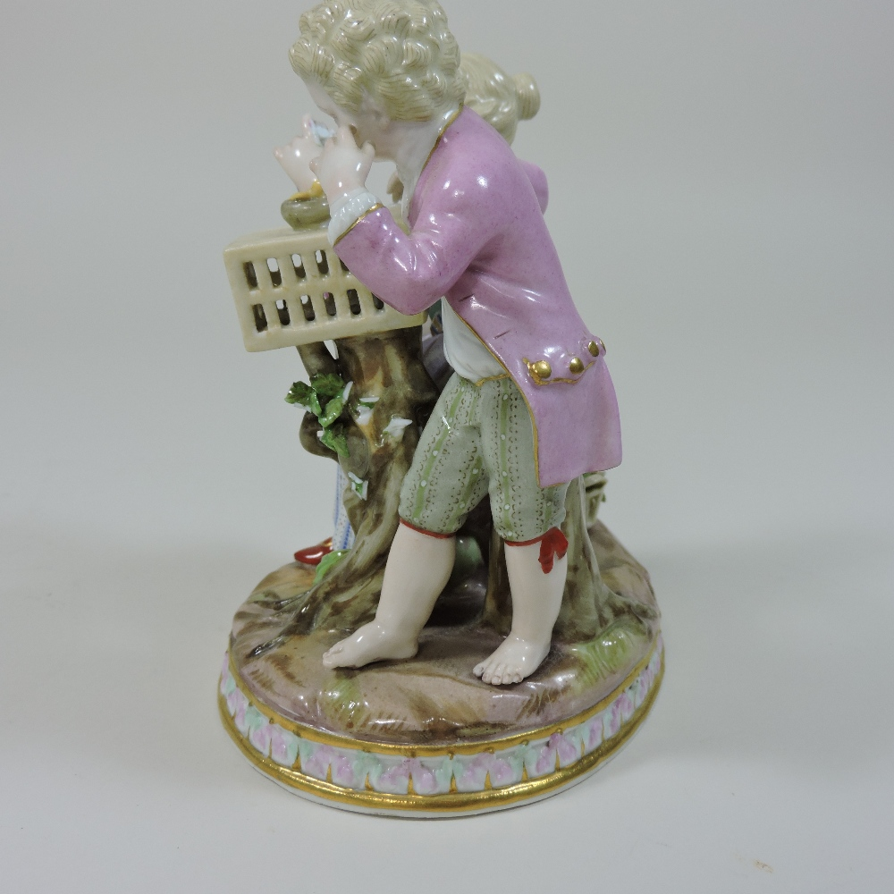 Lot 25 - A 19th century Meissen porcelain figure group, of two children playing,