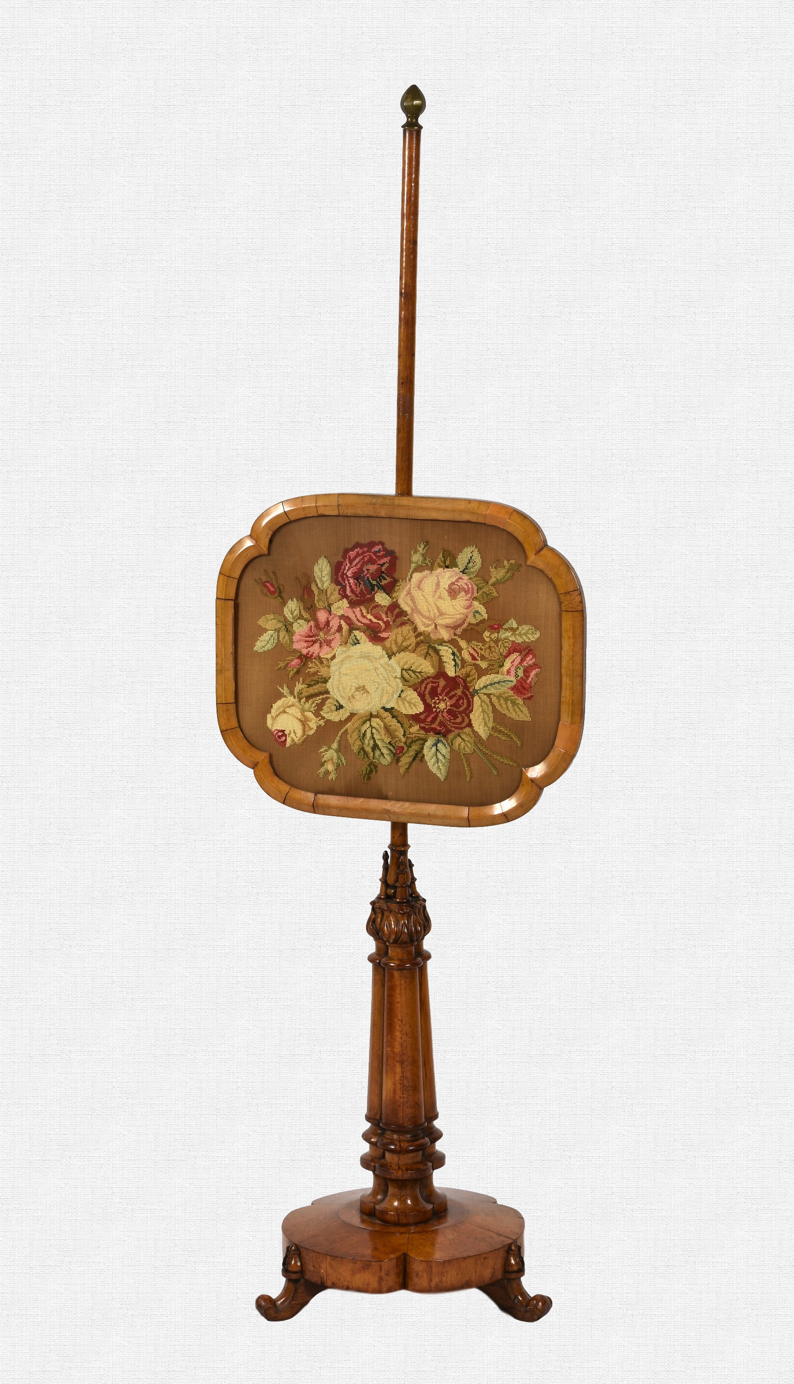 Lot 590 - A 19th century bird's eye maple pole screen the shaped rectangular adjustable section with floral
