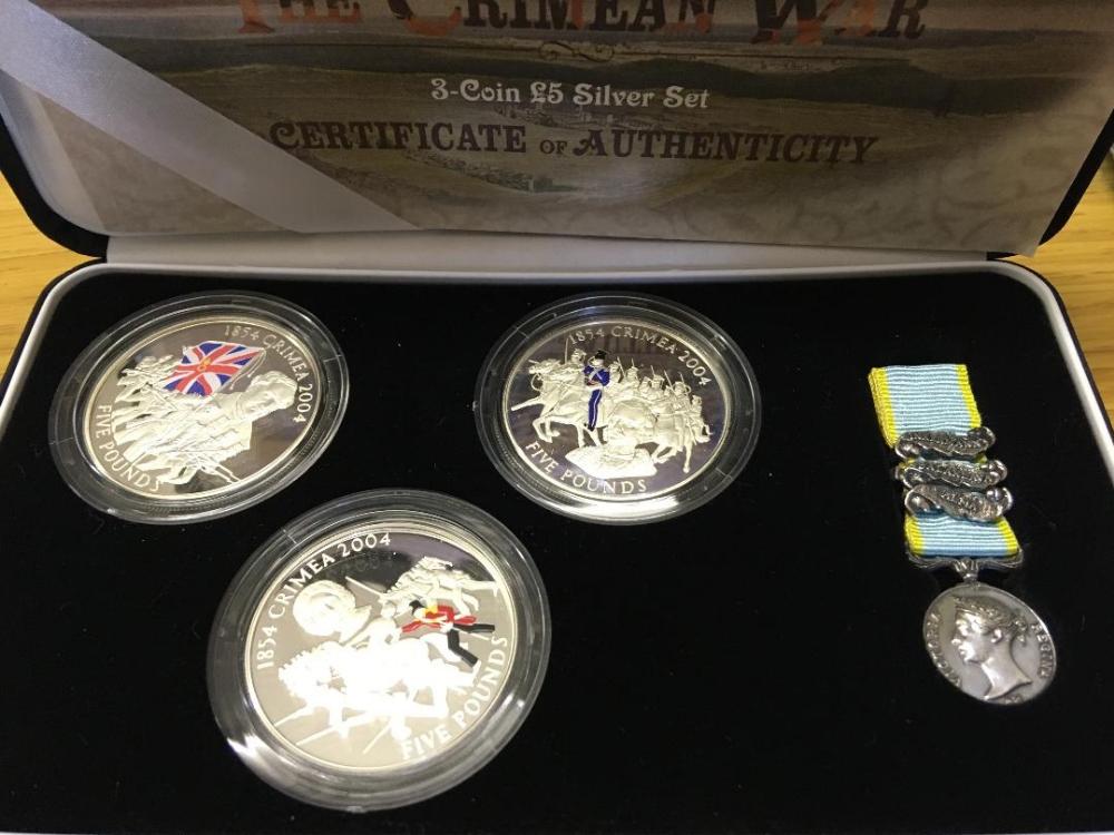 Lot 153 - COINS : Crimean War 3 £5 silver coin set
