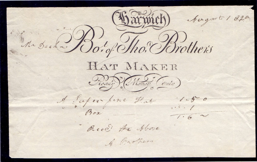 """Lot 74 - 1796 """"HAT TAX"""" licence to sell hats ! pl"""