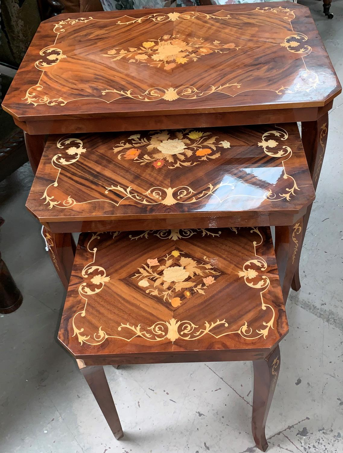 A nest of 3 modern Italian 'Sorrento' style walnut and marquetry effect occasional tables