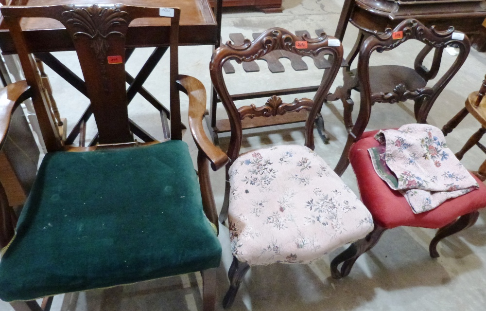 Lot 214 - An early 20th century mahogany elbow chair and a pair of Victorian rosewood salon chairs