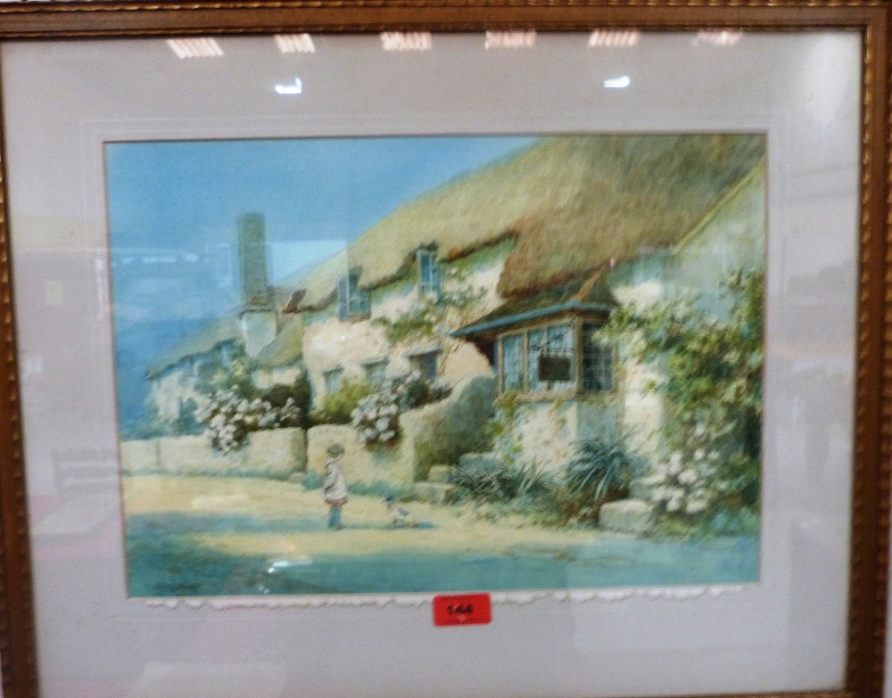 Lot 144 - L.MORTIMER. BRITISH 20TH CENTURY Porlock Weir post office with figure and dog. Signed.