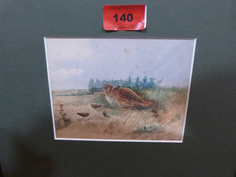 Lot 140 - A small watercolour signed S. Bednall, grouse with chicks. 4 1/2' x 5 1/2'