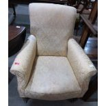 Lot 254 - A Victorian upholstered armchair on turned legs and castors