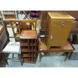 Lot 232 - A mahogany revolving bookcase, a mahogany tray top low table, a bedroom chair and a bedside cabinet