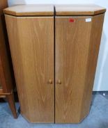 Lot 260 - A pair of contempory style light wood cabinets. 16' wide