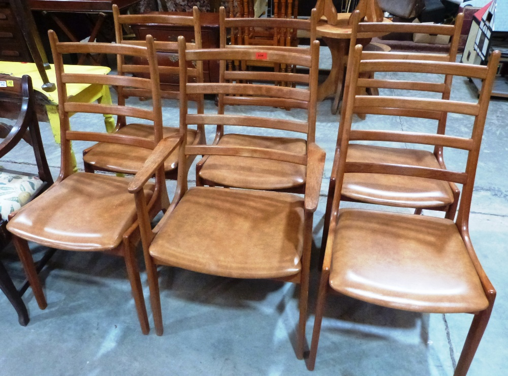 Lot 234 - Kai Kristiansen for Korup Stolefabrik Denmark. A set of six teak ladderback chairs, the set to