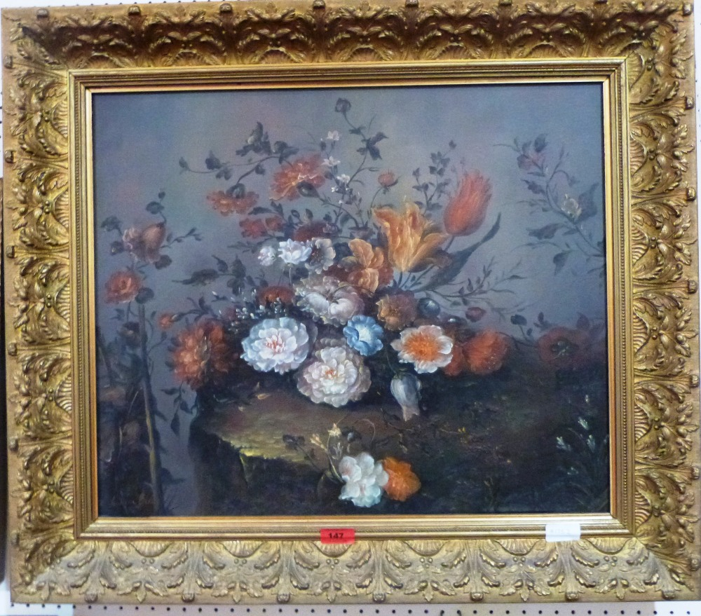 Lot 147 - WILLIAM BAILEY. BRITISH 20TH CENTURY A still life of flowers. Signed. Oil on canvas 20' x 24'