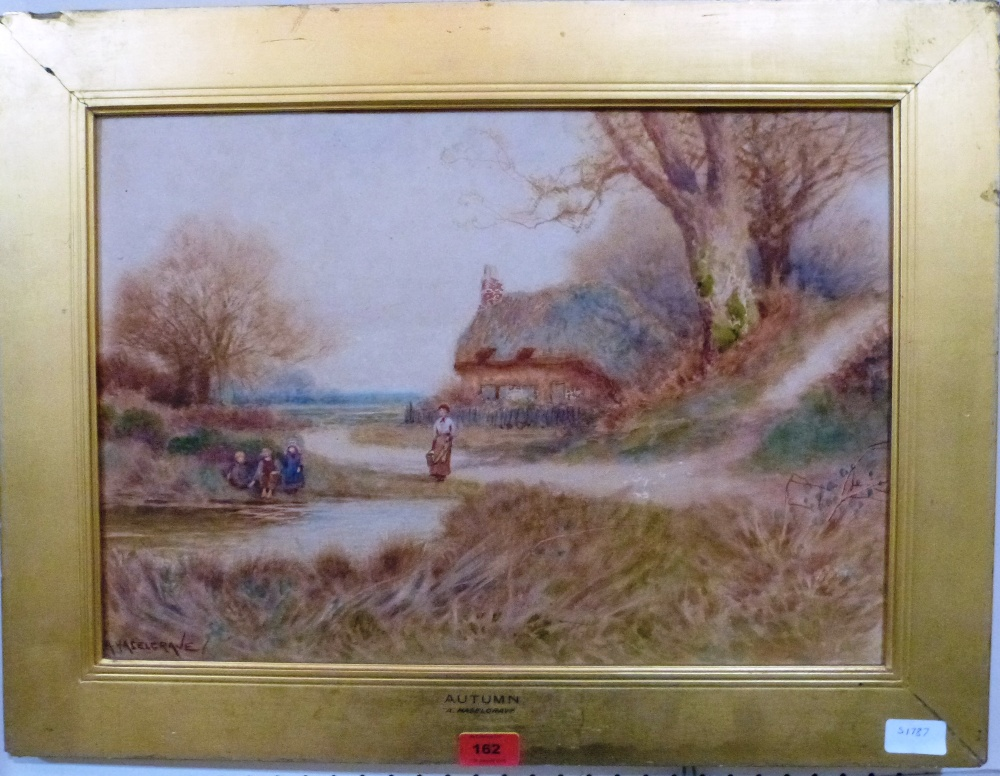 Lot 162 - ALBERT HASELGRAVE. BRITISH 19TH CENTURY Lane scene with cottage and figures in Autumn. Signed.