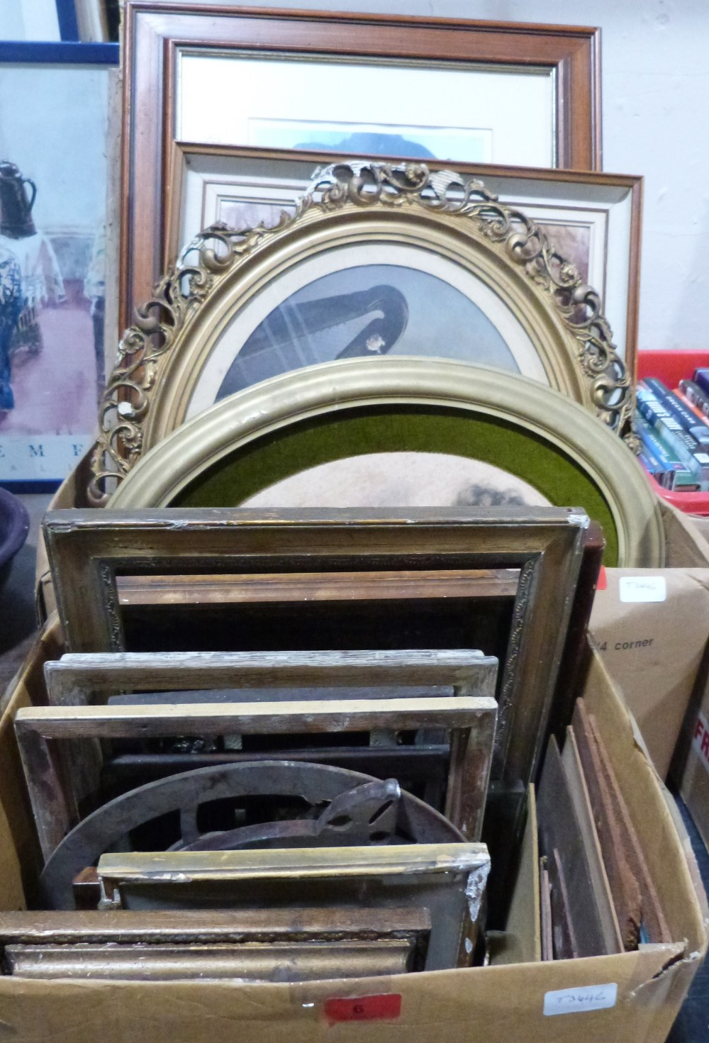 Lot 6 - Two boxes of miscellaneous pictures and frames