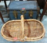 Lot 233 - A small trunk and a wicker basket