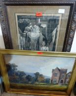 Lot 157 - A print after Byrne-Jones and an oil on canvas of a country house