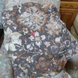 Lot 208 - A pair of heavy chintz floral curtains