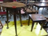 Lot 226 - An early 19th century joined oak cricket table 16' diam and an oak carved stool