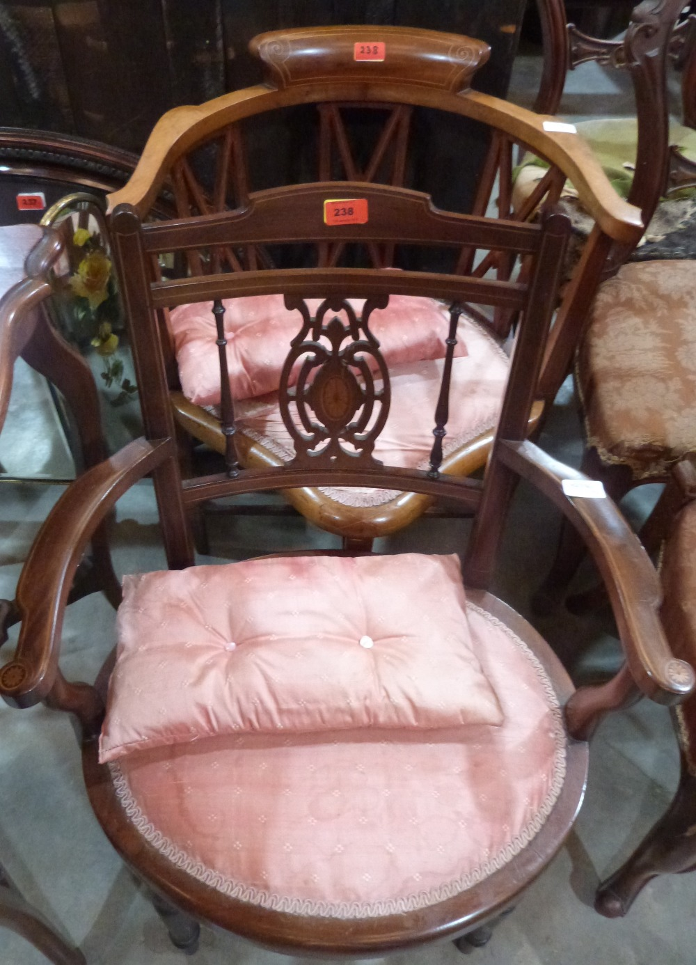 Lot 238 - Two Edward VII mahogany line inlaid salon elbow chairs