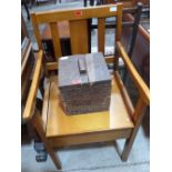 Lot 230 - A small oak box with printed mark Cheltenham Brewery and a commode chair